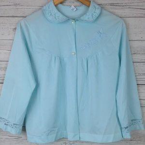 VTG Pastel blue bed jacket Blouse shirt top SL40